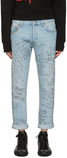 8617b26b33ead1 Gucci Blue Studded Scribble Jeans