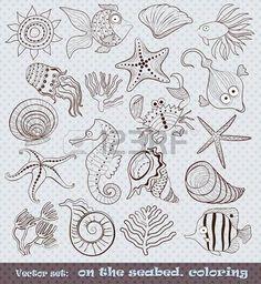 children travel: un insieme di abitanti animate il disegno schematico fondale marino Vettoriali