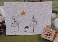 Build a Snowman | Denise Foor Studio PA White Christmas Card made by Judy Dibert Stampin' Up!