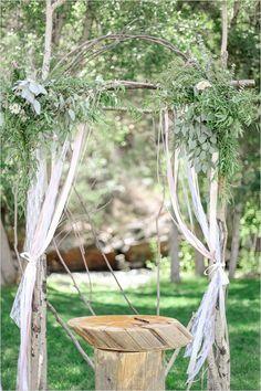 wedding ceremony archway with greenery #weddingceremony #weddingflorals #weddingchicks http://www.weddingchicks.com/2014/03/26/elegant-pink-and-navy-colorado-wedding/