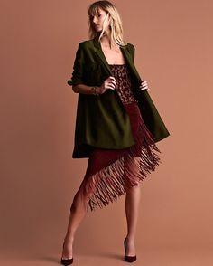 Exclusive for Intermix Goat Suede Underlay Fringe Skirt | Shop IntermixOnline.com