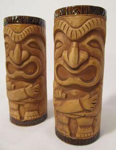 """Set of 2 Vintage Tiki Mugs Otagiri Ceramic Figure Polynesian Hawaiian 6 1/4"""" OMC"""