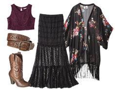 Looks For Less: Target (Misty Day inspired)  Crop Top $17.99 Skirt $22.99 Fringed Kimono $19.99 Boots (in brown) $29.74 Belt $16.99