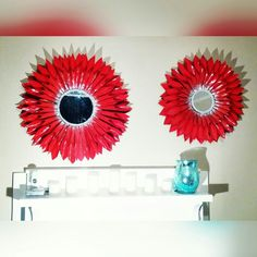 Red Sunburst Mirror  Made with all recycled materials. #KRAFTYWITHAK