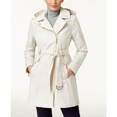Vince Camuto Asymmetrical Trench Coat ($140) ❤ liked on Polyvore featuring outerwear, coats, cashmere, white coat, white trench coat, wool cashmere coat, asymmetrical trench coat and trench coat