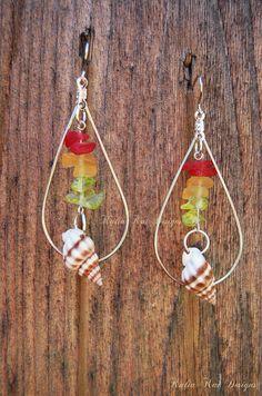 Reggae Sea Shell Tear drop Hoop Earrings, sea glass, Ocean theme, Hawaiian shell Earrings, Beach Earrings