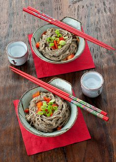 1 1/2 teaspoons cornstarch,  2/3 cup water,  1/3 cup rice vinegar,  1/3 cup unhomogenized smooth peanut butter (store bought or make your own),  2 Tablespoons reduced-sodium soy sauce,  1/4 teaspoon dark sesame oil,  4 garlic cloves,  2 teaspoons sugar,  1 teaspoon crushed red pepper flakes.  10 ounces dry Soba Noodles (4 cups cooked),  1 1/2 teaspoons dark sesame oil,  1 cup spicy peanut sauce,  1/2 cup chopped scallion tops, for garnish,  1 red bell pepper, diced, for garnish,  1/4 cup…