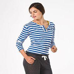 Petit Bateau US Official Online Store, PEBA-4555 Women's long-sleeved Tunisian neck striped tee, petit-bateau.us