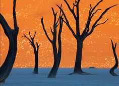 Photograph by Frans Lanting, Tinted orange by the morning sun, a soaring dune is the backdrop for the hulks of camel thorn trees in Namib-Naukluft Park... Πηγή: www.lifo.gr