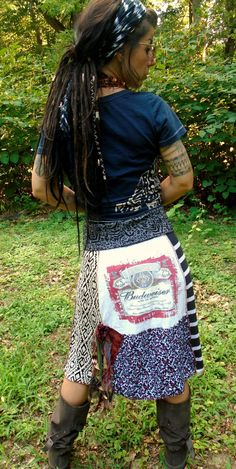 DeviDesigns Upcycled Eco Patchwork Boho Tattered Budweiser T-shirt Skirt w corsage fringe n fold over waist L XL or strapless dress cover up