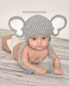 Crocheted Elephant Hat by HookedOnCrochetKaryn on Etsy, $23.00