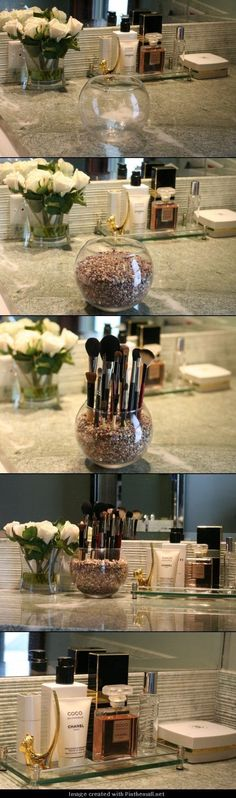 Clever Storage Ideas That Will Enlarge Your Space For when I have counter space in the bathroom? PQT: DIY Pretty Makeup Brush Holder - Pretty with PeggyFor when I have counter space in the bathroom? PQT: DIY Pretty Makeup Brush Holder - Pretty with Peggy Bathroom Organization, Makeup Organization, Bathroom Storage, Bathroom Ideas, Storage Organization, Vanity Bathroom, Organizing Ideas, Bathroom Cabinets, Bath Ideas