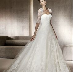 Decent A-line Sweetheart Satin Overlay Lace Chapel Train Wedding dress with Extral Shawl - Wedding Dresses