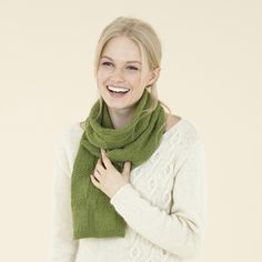 Sublime Natural Aran - spun in Yorkshire, England. Textured scarf in Gracie green.