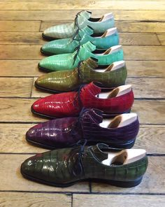 Colourful Arcas in an exotic crocodile skin at Pierre Corthay, Motcomb Street