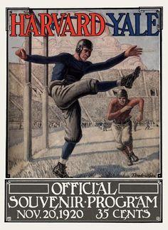 1920 Yale Bulldogs vs Harvard Crimson 36 x 48 Framed Canvas Historic Football Poster Football Rivalries, College Football Teams, Football Art, Football Program, Vintage Football, Football Posters, Sport Football, Football Helmets, Harvard Yale