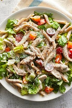 This scrumptious and healthy salad combines elements of Caesar salad, pasta salad and chicken salad for an easy weeknight dinner that comes together in less than 30 minutes (and most of the prep can be done ahead). Use your blender to whip together the tangy buttermilk-based dressing, which would also be great on a salmon or chickpea salad. #salads #saladrecipes #healthysalads #saladideas #healthyrecipes