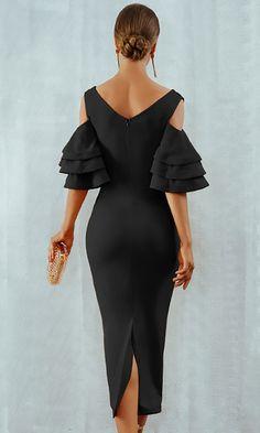 Raised Me Right Black Elbow Sleeve Ruffle Cross Wrap V Neck Cold Shoulder Bodycon Midi Dress - 7 Colors Available Trendy Dresses, Elegant Dresses, Beautiful Dresses, Ladies Dresses, Dresses Dresses, Dresses Online, Formal Dresses, Wedding Dresses, Super Moda