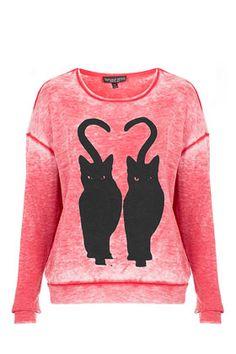 Twin Cat Motif Sweatshirt