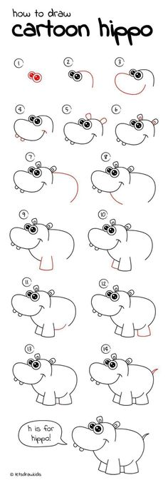 Kunst Zeichnungen - How to draw Cartoon Hippo. Easy drawing, step by step, perfect for kids! Kunst Zeichnungen - How to draw Cartoon Hippo. Easy drawing, step by step, perfect for kids! Drawing Tutorials For Kids, Drawing For Kids, Art For Kids, Children Drawing, Children Cartoon, Kids Fun, Drawing Lessons, Drawing Tips, Drawing Techniques