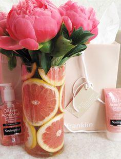 pink grapefruit vase
