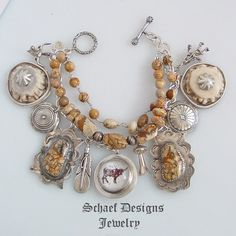 Longhorn Fred Harvey Thunderbird  Feather Squash Blossom Concho Charm Bracelet   #SchaefDesignsJewelryonline