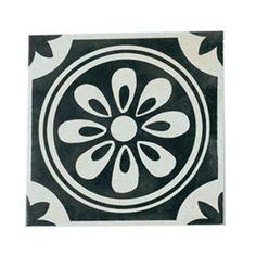 Carrelage noir décor versailles 20 x 20 cm - CASTORAMA