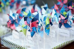 The pinwheels that were on Style Me Pretty. Handmade by Alexa for her seaside sommer wedding.