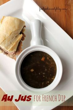 Learn How to Make Au Jus for French Dip Sandwiches even if you don't have drippings from a roast. Perfect for leftover prime rib or even deli roast beef! Sauce Recipes, Beef Recipes, Cooking Recipes, Recipies, Dip Recipes, Habanero Recipes, Habanero Sauce, Aujus Sauce, French Dip Au Jus