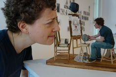 """""""The New Norm"""" 2015, a Norman Rockwell triple self-portrait inspired piece. Made of polymer clay, wood, and other mixed materials, sculptor Amanda Klish creates her own playful self-portrait in the style and form she specializes in."""