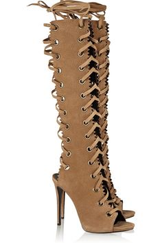 Heel measures approximately 115mm/ 4.5 inches Light-brown textured-suede Zip fastening along side