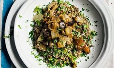 Nigel Slater's aubergine ragu with cream and parmesan lentils recipe | Life and style | The Guardian