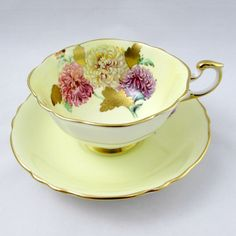 Paragon Tea Cup and Saucer with Chrysanthemum Flowers and Gold