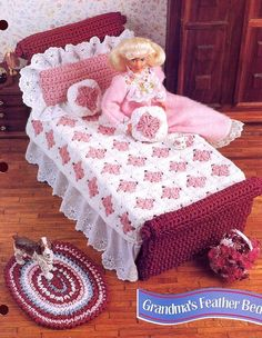 $2.97 - Grandma's Feather Bed For Barbie Doll Crochet Pattern/Instructions Leaflet #ebay #Home & Garden