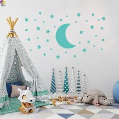 Cute Colors of Moon and Star Wall Stickers - blue / size3