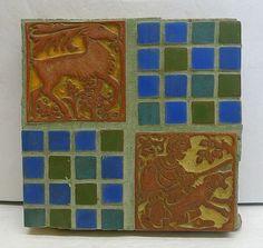 Batchelder Vintage 4-tile Panel with Hunter/Deer