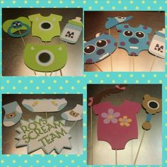 Monsters inc baby shower photo booth props.  Inspired by disneys monsters inc.