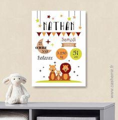 Affiche naissance bébé, cadeau de naissance garçon personnalisé, tableau chambre bébé enfant, animaux - Fichier Imprimable - n°13 : Décoration pour enfants par cashemir