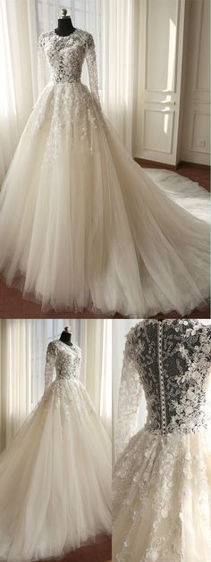 A-Line Wedding Dress - Scoop Chapel Train Tulle Appliques Long Sleeves @veenrol #wedding