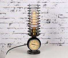 Steampunk Desk Lamp Industrial design Vintage lighting Car | Etsy Industrial Artwork, Industrial Lighting, Vintage Lighting, Industrial Design, Metal Glue, Steampunk Desk, Vintage Light Bulbs, Pipe Lamp, Automotive Design