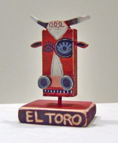 El Toro, mixed media wooden sculpture by Terrell Powell
