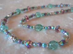 Aqua Glass and Lavender Purple Crystal by MountainSkyJewelry, $35.00