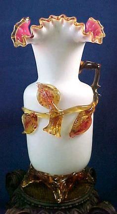 "Massive 11"" Antique Bohemian Harrach Cased Amberina Rose Blossom Art Glass Vase Pottery Vase, Ceramic Pottery, Porcelain Ceramics, Antique Glass, Hand Blown Glass, Glass Art, Contemporary Art, Czech Glass, Antiques"
