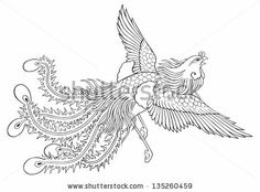 phoenix chinese style on white background for coloring by Bejim, via Shutterstock
