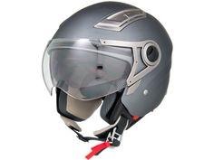 Motorcycle Helmet 3/4 Open Face Flat Matte Gray Retro Vintage EVOS Sport Street Bike Cruiser Helmet