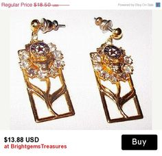 "CIJ Sale Eastern Star Masonic Earrings Post Backs Rhinestones Tree Of Life Gold Metal 1.5"" Vintage"