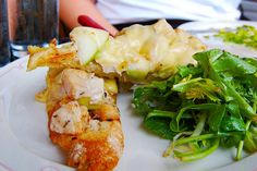 For your palate�s consideration: cheesy chicken and apples. | 12 Open-Faced Oven Melts That Will Ruin You For Life