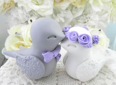 Swallowtail Love Bird Wedding Cake Topper Grey White by LavaGifts