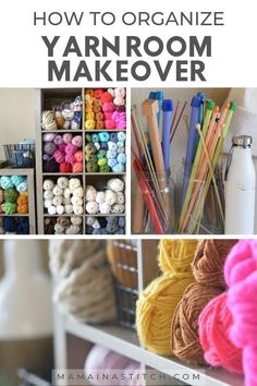 Tips and tricks for a budget-friendly Yarn Room Makeover. Who doesn't love those before and after room makeover photos? Here are some creativef ideas for the best ways to organize yarn. Using everything from clear plastic bins and baskets to old CD racks to knitting and crochet needle storage, this post shows some beautiful inspirational ideas. #knittingideas #crochetideas #craftroom #storage #beforeandafter Crochet Supplies, Knitting Supplies, Yarn Storage, Craft Storage, Crochet Crafts, Yarn Crafts, Before And After Room Makeover, Yarn Organization, Organizing