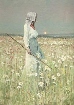 Girl in a Meadow - William Page Atkinson Wells (1872–1923) Harris Museum & Art Gallery